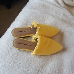 Lucky brand yellow slide on flats mules